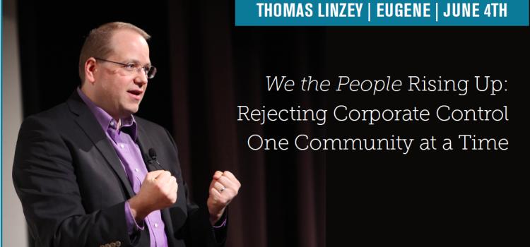Thomas Linzey speaking in Eugene June 4